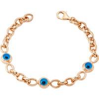 Lio Jewels 925 Ayar Altın Kaplama Gümüş Göz Boncuklu Kalın Zincir Bileklik
