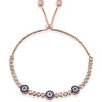 Lio Jewels 925 Ayar Altın Kaplama Gümüş 3'Lü Göz Boncuklu Sıralı Taşlı Suyolu Ayarlanabilir Bileklik