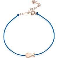 Lio Jewels 925 Ayar Altın Kaplama Gümüş 3 Boyutlu Balık Mavi İpli Bileklik