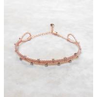Lio Jewels 925 Ayar Pembe Altın Kaplama Gümüş Çift Sıra Taşlı Bilezik