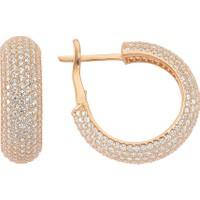 Lio Jewels 925 Ayar Gümüş Altın Kaplama İthal Beyaz Taşlı Halka Küpe