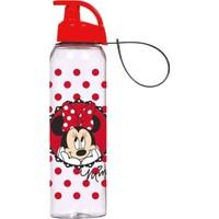 Herevin Minnie Mouse Lisanslı 500 ml Askılı Suluk (Kırmızı-Şeffaf)