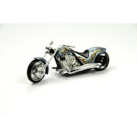 Motor Max Motormax 1:18 Ölçekli Kutulu Chopper Motorsiklet (Mavi-Kahve)
