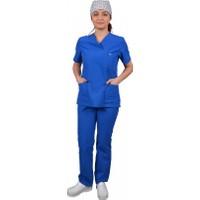 Tipmod Doktor Hemşire Üniforması Nöbet Takımı Bayan 128 Saks Mavi