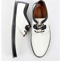 DeepSEA Beyaz Lazer İşlemeli Bağcıklı Nubuk Deri Erkek Ayakkabı 1701018-001