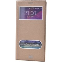 Case 4U Samsung Galaxy Note 4 Pencereli Kapaklı Kılıf Altın