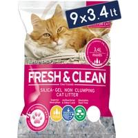 Fresh & Clean Silika Kristal Kedi Kumu 3.4 Lt 1,4 Kg (9 Adet)
