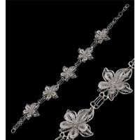 Akyüz Gümüş Çiçek İşlemeli Telkari Gümüş Bileklik