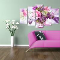 Hepsiburada Home Vazoda Çiçekler 5 Parça Saatli Kanvas Tablo