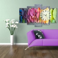 Hepsiburada Home Renkli Yapraklar 5 Parça Saatli Kanvas Tablo