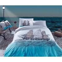 Cotton Box Maritime Ranforce Çift Kişilik Nevresim Takımı Ship Mavi