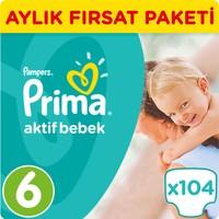 Prima Bebek Bezi Aktif Bebek 6 Beden Ekstra Large Aylık Fırsat Paketi Paket 104 Adet