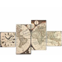 Antik Harita - 4 Parçalı Kanvas Saat