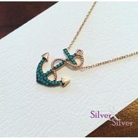 Silver & Silver Firuze Taşlı Deniz Çapalı Kolye