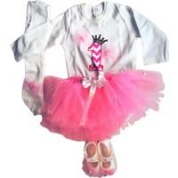 Beybisi Bir Yaş Doğum Günü Partisi Pembe Kız Tütü Takımı - 5 Parça