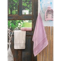 Cotton Box Tek Kişilik 3 Lü Bambu Havlu Seti Krem&Pudra&Mürdüm