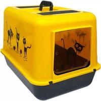 Petimister Kedi Kapalı Tuvalet Kabı Sarı