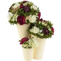 Primanova Dekoratif Çiçek Üçlü Saksıda Beyaz D-D70101