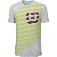 Wilson Lıned W'Tech Tee Erkek T-shirt Grey Heather/Green Glow/Boysenberry (XL) (WRA747002XL)