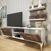 Rani Siesta Duvar Raflı Tv Sehpası - Kitaplıklı Tv Ünitesi Beyaz Ceviz