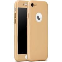 Gpack Apple iPhone 7 Kılıf 360 Derece Tam Koruma Rubber Gold