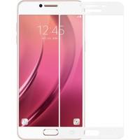 Gpack Samsung Galaxy C7 Renkli Full Kapatan Ekran Koruyucu Cam Beyaz