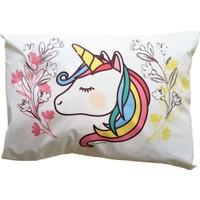 Suluboyadesign Unicorn Baskılı Çocuk & Bebek Tekli Yastık Kılıfı 35 x 45 cm