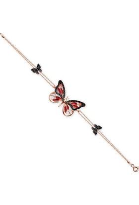 Alışverişrengi 925 Ayar Zirkon Taşlı Kelebek Bileklik