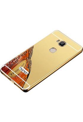 Gpack Huawei Honor 5c Gt3 Kılıf Aynalı Metal Bumper Gold +Cam