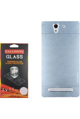 Gpack Sony Xperia C3 Kılıf Sert Arka Kapak Motomo Case +Cam
