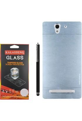 Gpack Sony Xperia C3 Kılıf Sert Arka Kapak Motomo Case +Kalem +Cam