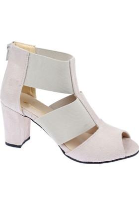 Shalin Kadın Ökçeli Ayakkabı-Bşk 016 Bej Süet