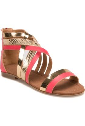 Miss F DS17052 Pembe Altin Kadın Sandalet