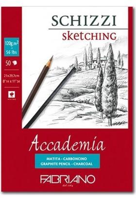 Fabriano Accademia, Natural Dokulu Beyaz, Üst Kenarından Yapışkanlı Blok (Schizzi), 120Gr., 14,8X21Cm