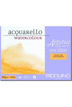 Fabriano Artistico Extra White, İnce Dokulu Sulu Boya Blok, 300Gr. - Gf/Cp - 12,5X18Cm