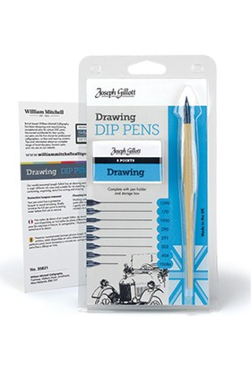 William Mitchell Drawing Dip Pens Set 8 Karışık Uç Ve Tarama Sapı