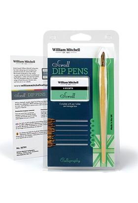 William Mitchell Scroll Dip Pens 6 Karışık Uç Ve Tarama Sapı