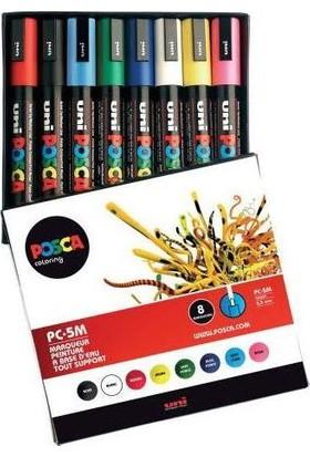 Uni Posca Su Bazlı Marker Pc-5M 8'Li - Çiçek Renkler