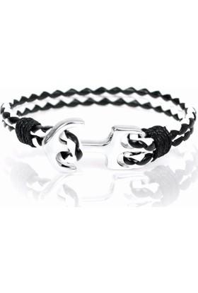 Myfavori Siyah Beyaz Deri Halat Gümüş Kaplama Çapa Bileklik