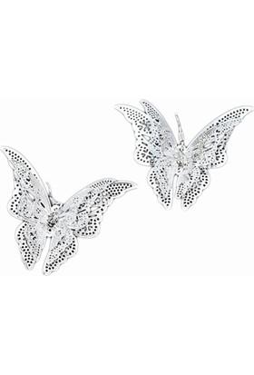 Myfavori Gümüş Renk 3 Katman Kelebek Küpe