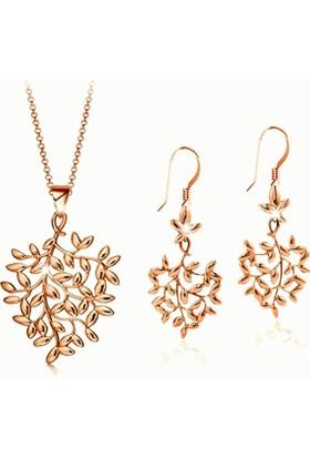 Myfavori Seti Rose Gold Kaplama Yaprak Ağacı Tasarım Kolye Küpe Takı Seti