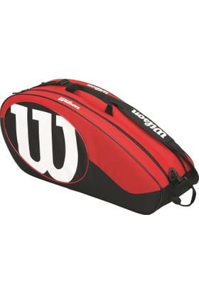 Wilson Tenis Çantası Match II 6 Pack - Siyah / Kırmızı (WRZ820606)
