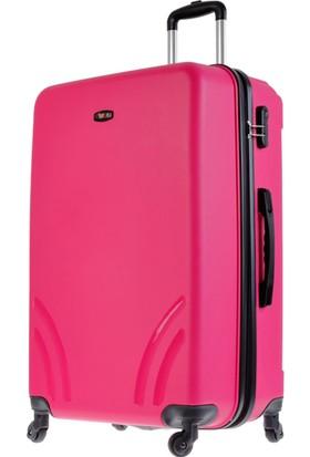Tutqn Kırılmaz Plastik Bavul Pembe Büyük Boy Valiz %100 Pp