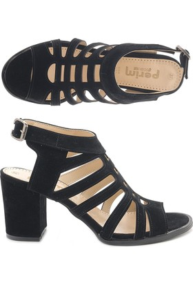 Perim W3010 Kare Topuk Nubuk Kafesli Kadın Ayakkabı