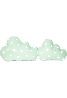 Palmy Baby 2 li Bulut Yastık Seti - Yeşil Yıldız Desen
