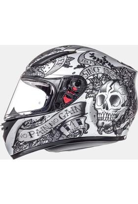 MT Kask MTRevenge Skull&Rose Matt Silver/Anthracite/Black FF