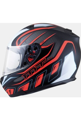 MT Kask MT Blade SV Alpha Gloss Black/White/Fluor Orange Full Face Güneş Vizörlü