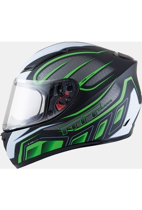 MT Kask MT Blade SV Alpha Gloss Black/White/Fluor Green Full Face Güneş Vizörlü