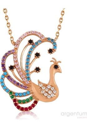 Argentum Concept Renkli Zirkon Taşlı Gümüş Rose Tavus Kuşu Kolye