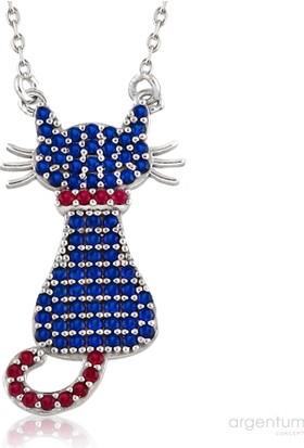 Argentum Concept Mavi Zirkon Taşlı Gümüş Kedi Kolye